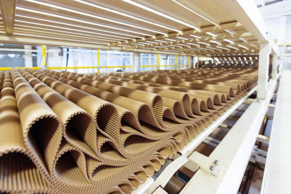 Arkusze tektury w fabryce